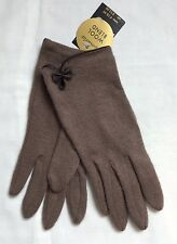 Monsoon Accessorize Mink/Brown Wool Blend Bow Detail Gloves (a579)
