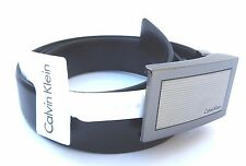 NEW men's CALVIN KLEIN CK reversible silver buckle black belt L  36
