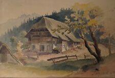 Aquarell Gemälde Schwarzwald Busamhof erb.1685 Sulzbach Kinzigtal GM Eckert~1850