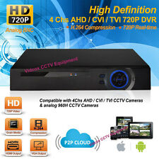 4 Channel Analog HD 720P H.264 AHD Security CCTV DVR Recorder iPhone Android P2P