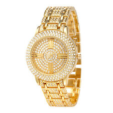 Alias Kim Gold Full Crystal Round Face Dial Lady Women Wrist Quartz Luxury Watch