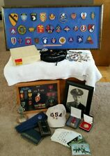 FANTASTIC LOT OF MILITARY 3 GENERATIONS RARE PATCHES PINS MEDALS LETTERS WOW
