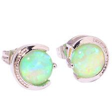 Green Fire Opal 8mm Silver Women Fashion Jewelry Gemstone Stud Earrings OH3846