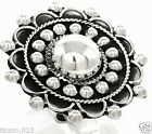 VINTAGE STYLE TAXCO MEXICAN 925 STERLING SILVER BEADED BEAD SCROLL RING MEXICO