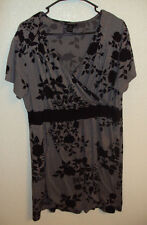 LANE BRYANT dress WOMEN'S black&gray floral short sleeve SIZE 14/16 preowned