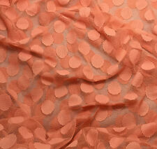 "PEACH POLKA DOTS Stretch LACE Fabric - 54"" by the yard"