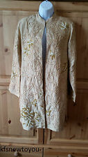 ENTICE SILK GOLD EMBELLISHED COAT/JACKET SIZE 12 FORMAL CRUISE COCKTAIL PARTY