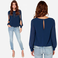 Fashion Women Loose Long-sleeved Chiffon Casual Blouse Tops Shirts XXL Blue