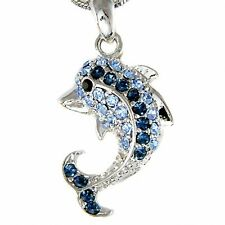 Beach Wedding Something Blue w Swarovski Crystal ~DOLPHIN Charm Pendant Necklace