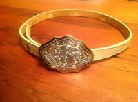 Montana Silversmiths Sterling Silver Plate FLORAL Western Belt buckle and Belt