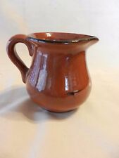 Small Brown Pottery Creamer  Gloss Glaze, Hand Painted Design (H1)