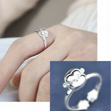 925 Sterling Silver - Size 6 Chic Little Monkey Head Party Club Open Chic Ring