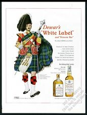 1950 Clan Gordon tartan Highlander drum major art Dewar's Scotch whisky print ad