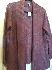 J Jill XL Cascade Open Front Wool Blend Cardigan Sweater Garnet Heather