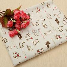 50x150cm Cotton Linen Cute Cat Fabric Patchwork Craft Table Cloth Upholstery DIY