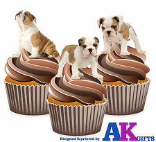 12 X Fun Cute British Bulldog Puppy Puppies Mix EDIBLE CAKE TOPPERS STAND UPS