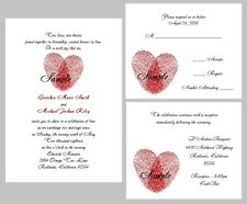 100 Personalized Custom Red Heart Fingerprints Bridal Wedding Invitations Set