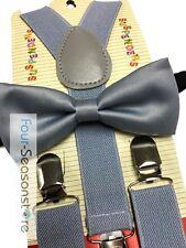 Wedding Gray Suspender & Bowtie - Children Toddler Baby Elastic Combo Set New