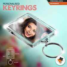 PERSONALISED PHOTO KEY RING WITH ANY IMAGE OR TEXT 50MM X 35MM CUSTOM KEYRING !*