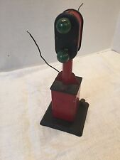 Old O Scale Marx Railroad Signal Green Bulb Light Pole Dk Red Metal Base
