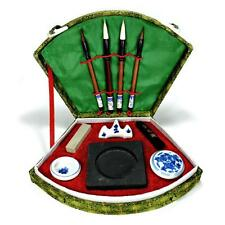 FAN BOX CALLIGRAPHY SET Writing Brush Ink Chop Artist Travel Asian Chinese Sumi