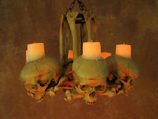 Skull Hip Bone Chandelier w/ Wax Candles, Halloween Prop, Human Skeletons, NEW