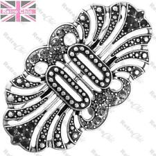 BIG ORNATE CRYSTAL pin MAISIE BROOCH vintage art deco style JET/BLACK/SILVER PLT