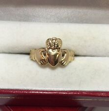 14k Yellow Gold Claddagh Irish Wedding Band  Heart Love Artisan Ring 10