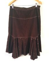 Marks & Spencer Cotton Soft Cord Skirt Size 12 Brown Sequin  R9202