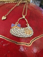 Large Betsey Johnson Dior Purse Pendant-White