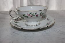 Crown Bavaria Juliette Floral Cup and Saucer Gold Trim German