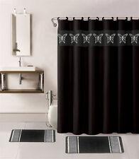 15PC BLACK BUTTERFLIES BATHROOM SET 2 BATH MATS 1 SHOWER CURTAIN & FABRIC HOOKS