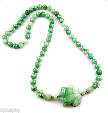 GORGEOUS Vintage 1970s Handmade Carved Frog Asian Jadeite Jade Bead NECKLACE