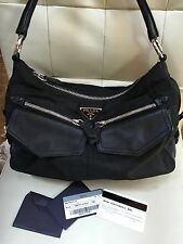 Prada Semitracolla Tessuto Double Zip Leather Nylon Satchel Shoulder Black Bag