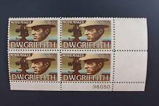US Scott 1555 MNH American Arts Issue DW Griffith PO Fresh Plate # Block of 4
