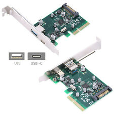 NEW PCI express 4x to 2 USB 3.1 Type-A + Type-C Card Compatible Thunderbolt 3.0