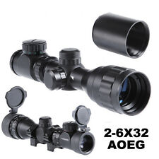 Optics 2-6x32AOEG Hunting Rifle Scope Sight Red/Green Rangefinder Lens Covers