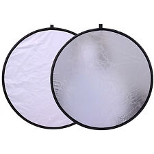 """CY 12"""" 30cm White Silver Photography Photo Studio Collapsible Reflector 2in1"""