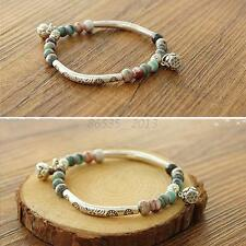 Adjustable Women Ethnic Ceramics Silver Plated Handmade Bangle Bracelet Beads