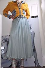 "CELEBRITY PARTY SKIRT ""BLUMARINE"" EXTRA LONG ,100% SILK ,MINT three-layer 8-10"