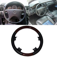 Black Leather Wood Steering Wheel Cover for 00-02 Mercedes W210 E C208/W208 CLK