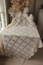 Vintage French hand-made coverlet crochet 54X76 curtain bed cover tablecloth etc