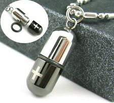 316L Stainless Steel Silver Black Small Openable Pill Capsule Pendant Necklace