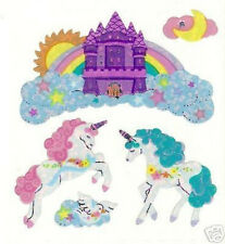 Sandylion VINTAGE Glittery FANTASY UNICORN CASTLE Stickers *3 Squares*