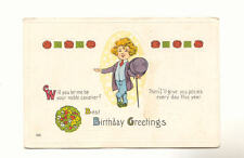 BOY WITH TOP HAT CANE Roses BIRTHDAY GREETINGS POSTCARD