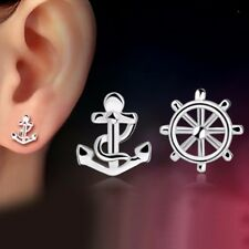 1 pair 18k White Gold Filled Earrings Anchor Rudder Stud Cute GF Fashion Jewelry