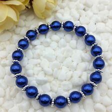 NEW Wholesale Fashion Jewelry 8mm Deep Blue Water Pearl Beads Stretch Bracelet