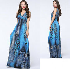 Blue Women lady Summer Long Maxi Boho Beach Print V Leopard dress Plus Size 22