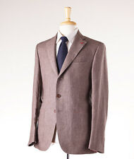 NWT $3295 ISAIA NAPOLI Light Brown Extrafine Linen Suit 42 R + Hanger/Coral Pin