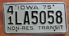 Iowa 1975 HANCOCK COUNTY NON-RESIDENT TRANSIT License Plate # 41 LA5058
